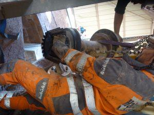 Intervention sur contre-arbre d'un broyeur HP400
